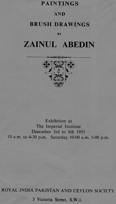 Paintings and Brush Drawings by Zainul Abedin, The Imperial Institute