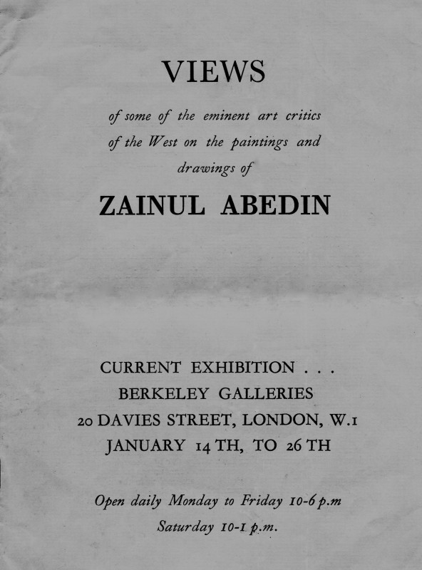 Views of some of the eminent art critics of the West on the paintings and drawings of Zainul Abedin