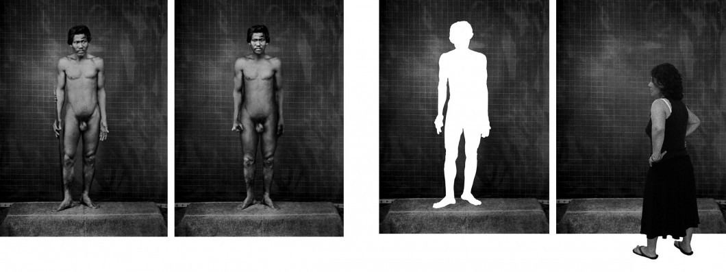 Manipulated photograph in four sections featuring naked male, a silhouette, and female turned from picture plane