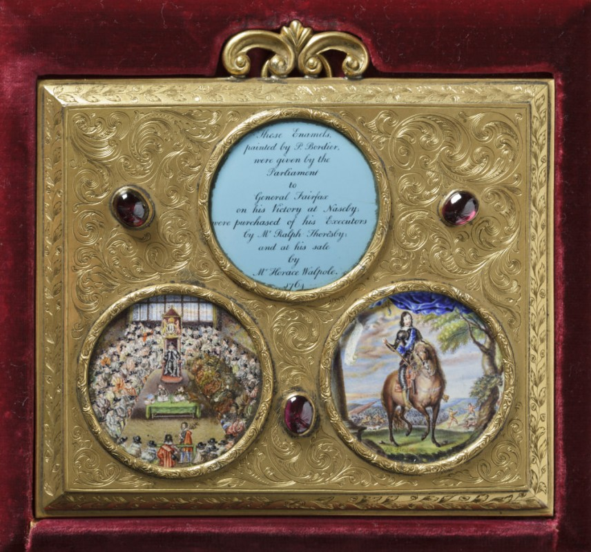 ca. 1645, enamel set in gilt metal (later frame), 15 x 20 cm. Collection of Seaton Delaval Hall, National Trust.