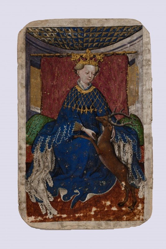 """Queen of Stags"", from the earliest known deck of cards, the, ""Stuttgart Playing Cards"""
