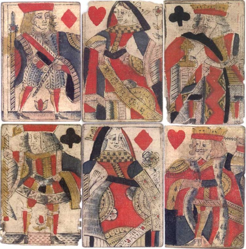 English playing cards from the pack issued about 1675 with the name C. Hewson