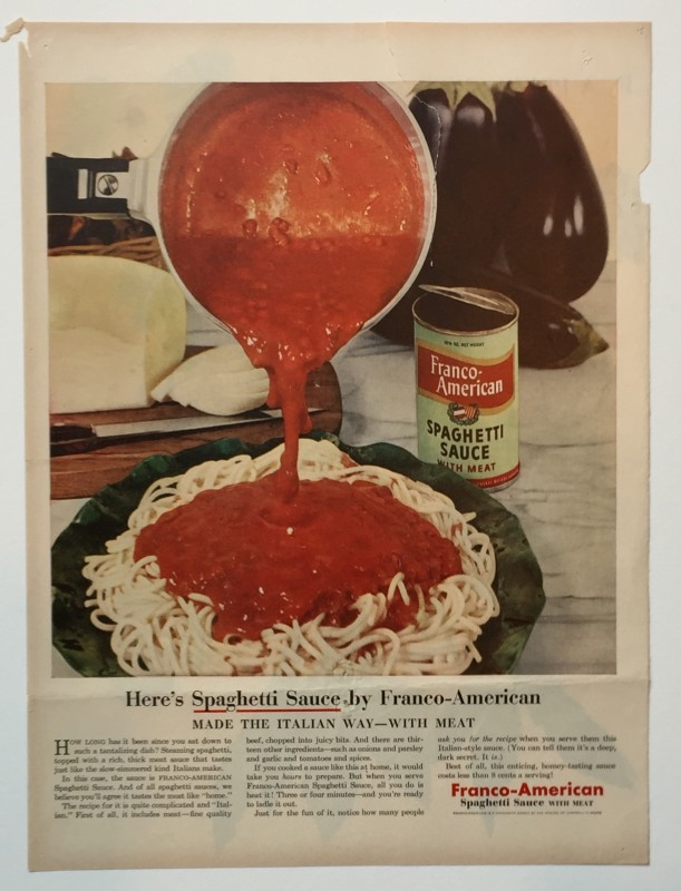 Advertisement for Franco-American Spaghetti Sauce