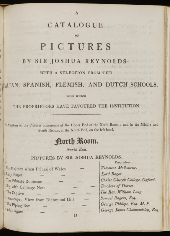 A Catalogue of Pictures by Sir Joshua Reynolds