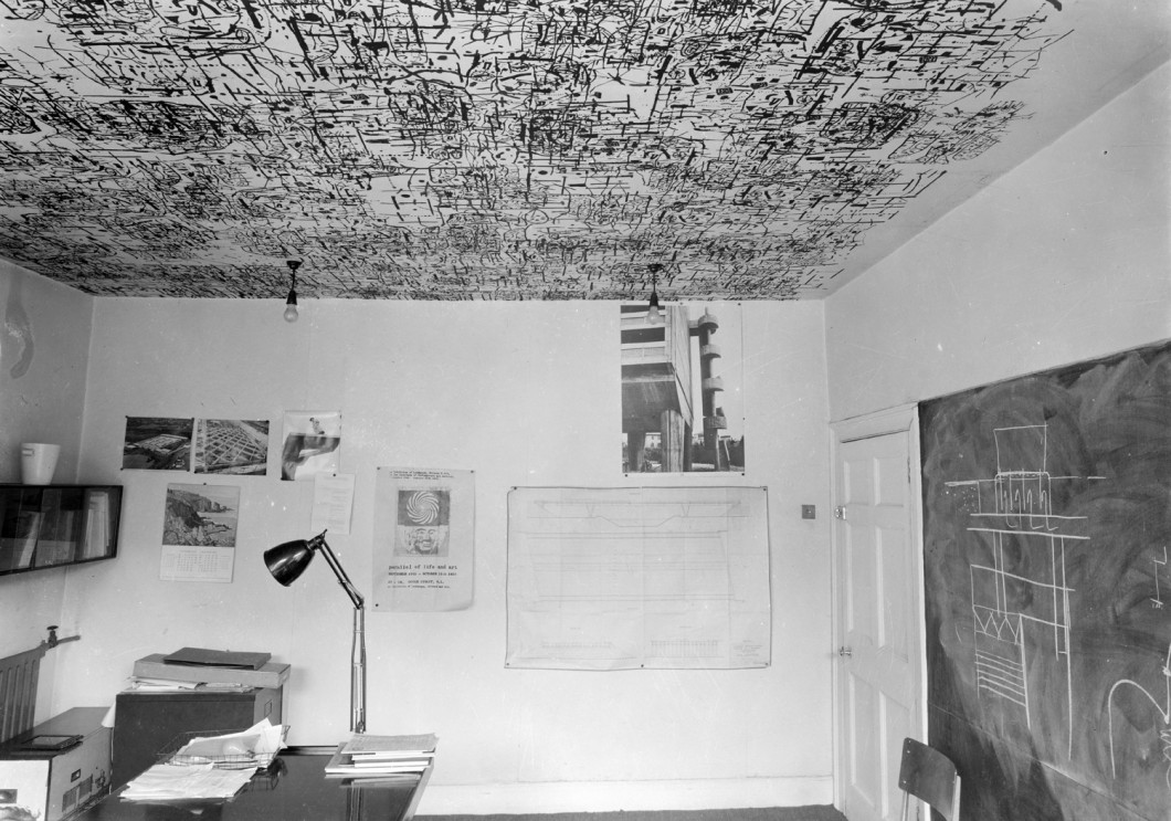 Photograph of Ronald Jenkins's office with ceiling paper by Eduardo Paolozzi