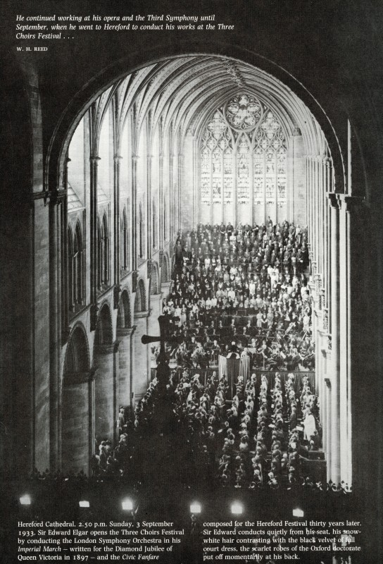 at Hereford Cathedral, 3 September 1933, with the Hereford Screen shown in the foreground. Published in <i>The Times</i>, 3 September 1933