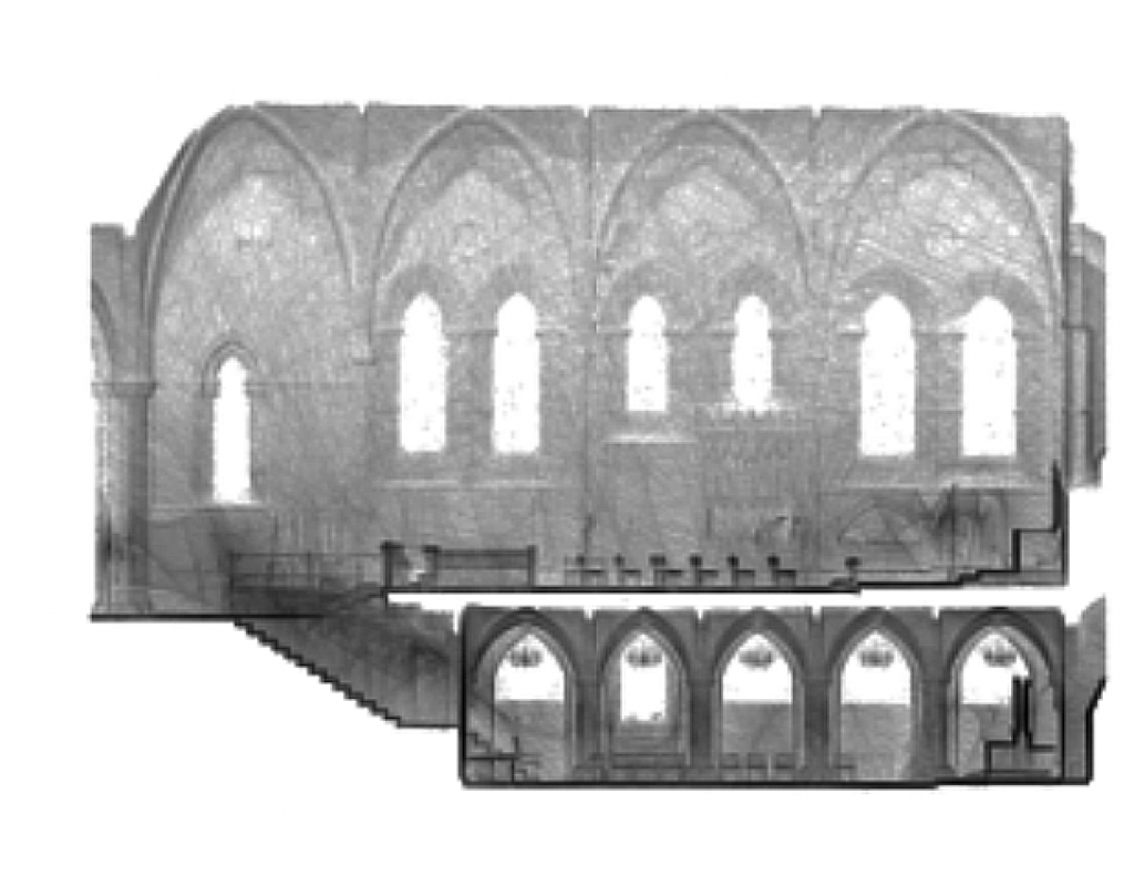 Elevation (with crypt) of the Lady Chapel of Hereford Cathedral