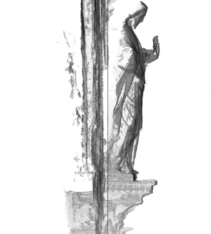 Section of photogrammetric capture of Christ, Hereford Screen