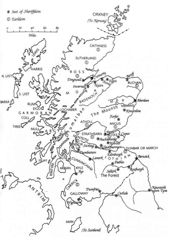 Map of Scotland at the end of the 13th century