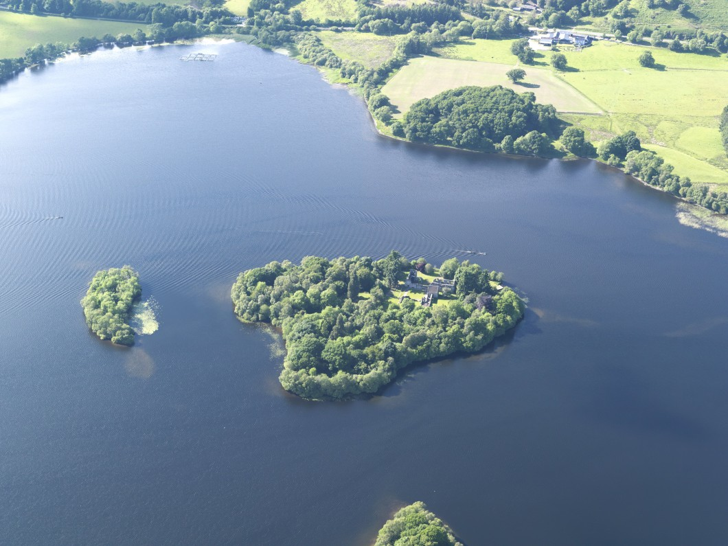 Aerial photograph of the islands of Inch Talla and Inchmahome, Lake of Menteith