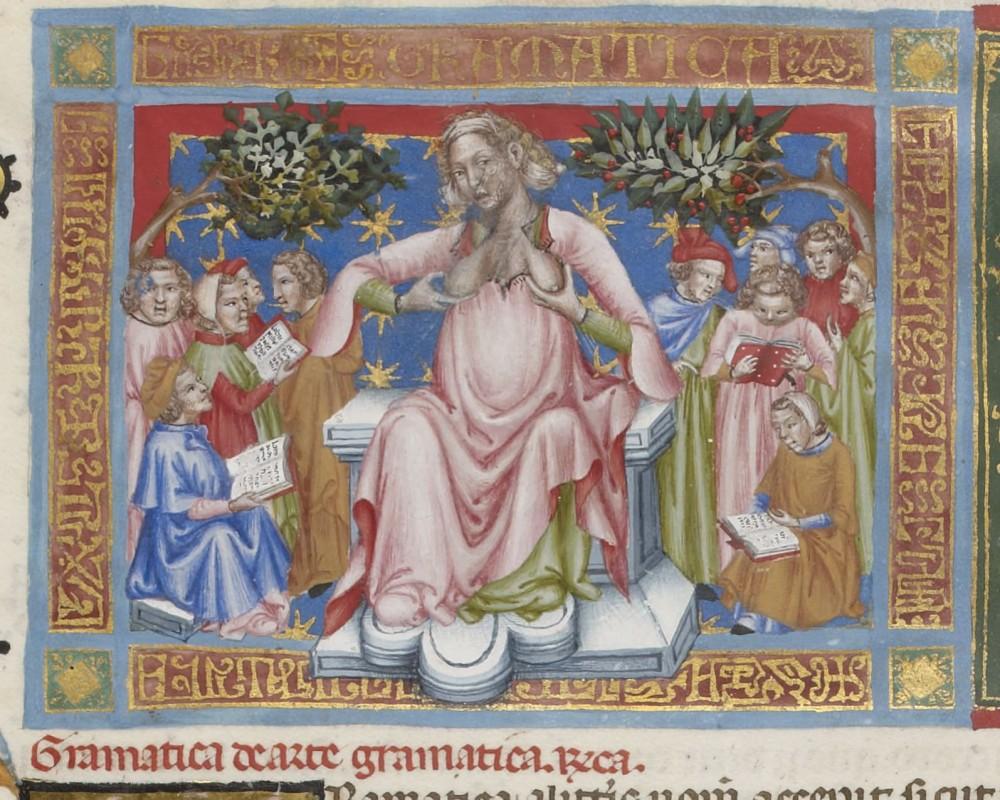 from <i>Institutiones saecularium litterarum</i> by von Cassidor (Bamberg, c. 1330–40). Collection Bibliothèque nationale de France, (MS Lat. 8500, fol. 30v).