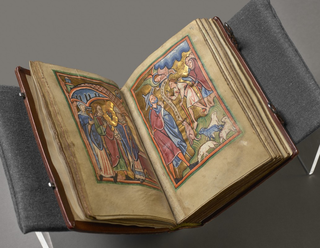 and <i>the Annunciation to Joachim</i> from <i>Illustrated Vita Christi (Life of Christ)</i>, with devotional supplements, ca. 1190–1200 and c. 1480–90, tempera colours, gold, and ink on parchment, 17.6 × 12.8 × 4.3 cm. Collection of The J. Paul Getty Museum, (Ms. 101, fols. 18v–19).