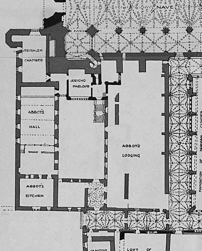 Ground plan of the Abbot's House complex at Westminster Abbey