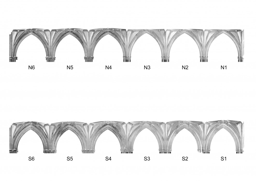 Orthographic image of the digital point cloud data for the north aisle (above)