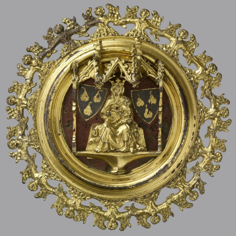 Copper-gilt and enamel roundel with silver mount from Warden Abbey