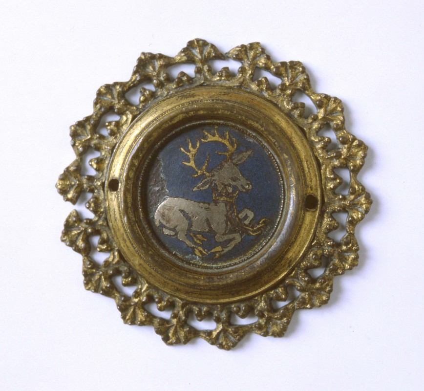 Copper-gilt and enamel badge decorated with the white hart badge of Richard II