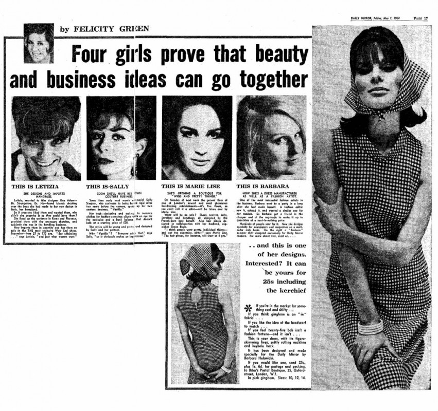from <i>Four girls prove that beauty and business ideas can go together</i> by Felicity Green, <i>The Daily Mirror</i>, 1 May 1964.