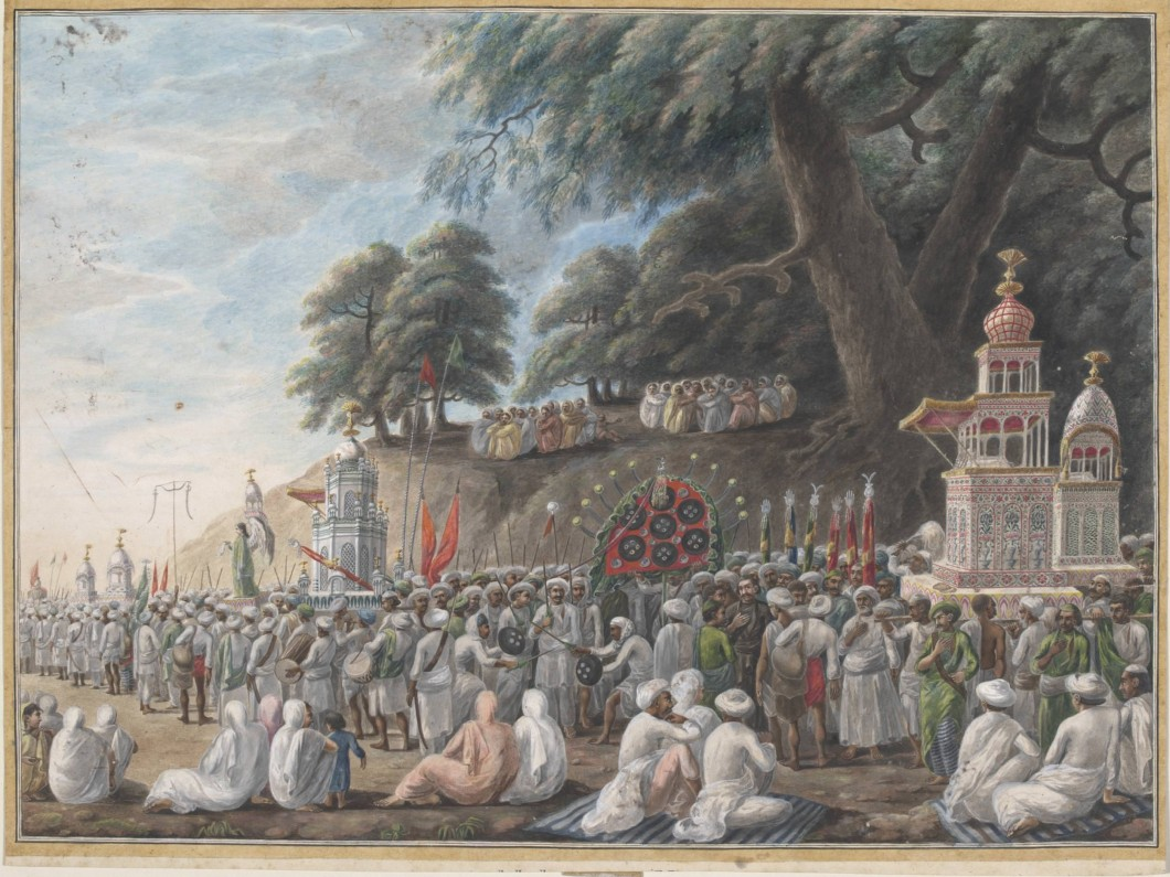 a Company painting (made by an Indian artist for the British in India) from the Patna region depicting the Muharram muslim ceremonies, ca. 1807, watercolour on paper, 43.5 x 56.5 cm. Collection Victoria and Albert Museum, London (IS.74-1954).
