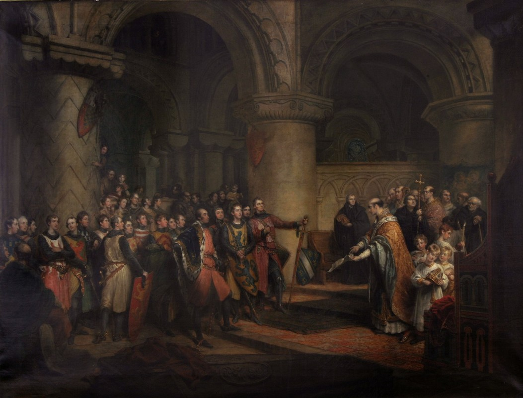 <i>Archbishop of Canterbury, shewing to the Barons of England, in the Abbey of St Edmund at Bury, the Charter of Liberties that had been granted by King Henry I, and on which the Great Charter of King John was subsequently founded</i>, 1816–17, oil on canvas, 115 x 150 cm. Private collection.