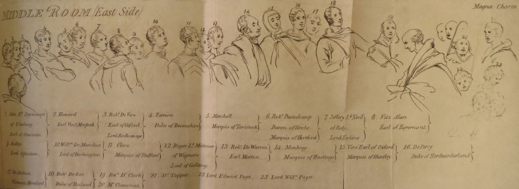 <i>(Reference-Plate of the Portraits) from Catalogue of the Works of British Artists placed in the Gallery of The British Institution, Pall-Mall, for Exhibition and Sale</i>, 1819 (London: W. Bulmer and Co., 1819). Collection National Art Library, Victoria and Albert Museum, London (200.B.20).