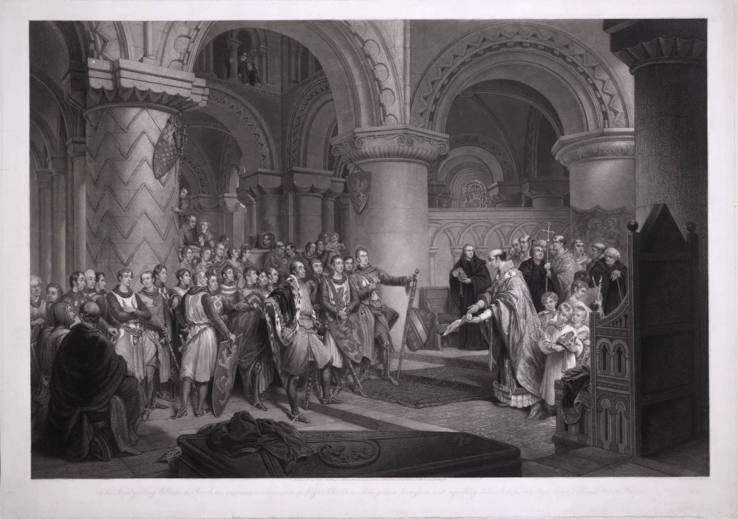 <i>presenting to the assembled barons the old charter of Henry 1st as the foundation for the Magna Charta in the Abbey of St Edmund at Bury</i>, 1833, mezzotint and stipple engraving on paper. 65.8 x 93.3 cm. Collection the British Museum (Inv. 1893,0612.88).