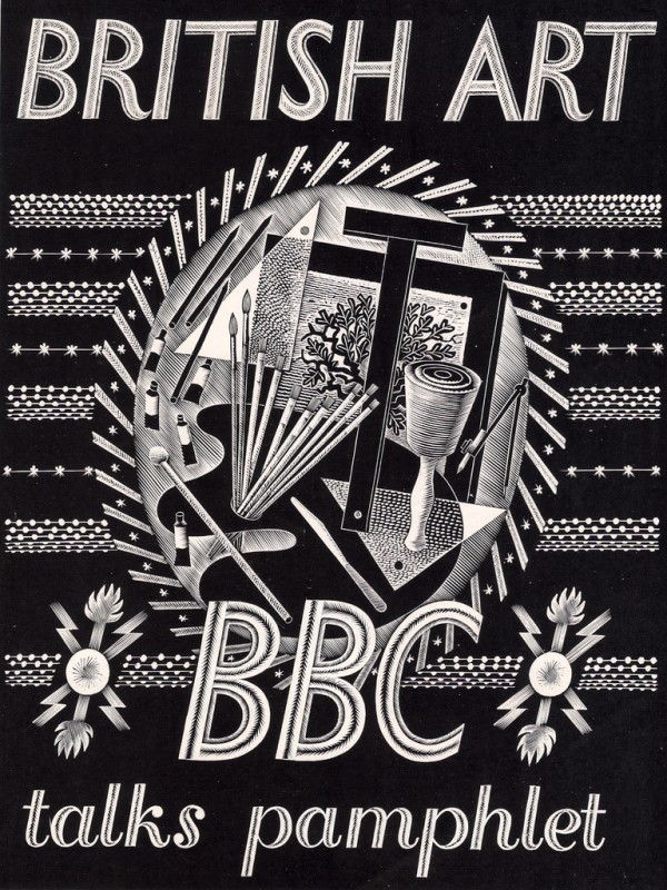 Front cover of '<i>British Art BBC talks pamphlet</i>', designed by Eric Ravilious